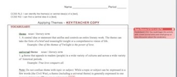 Applying Themes -- Common Core Multimedia Learning Activity