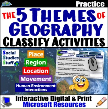 Applying the Five Themes of Geography Practice Sheets