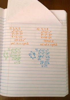 Applying the Pythagorean Theorem Foldable Notes SOL 8.10