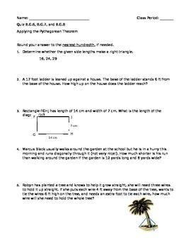 Applying the Pythagorean Theorem Quiz