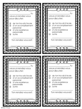 Teacher Appointment Cards- French Version