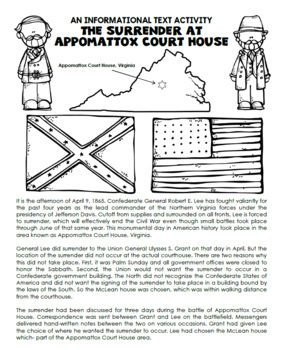 Appomattox Courthouse End of Civil War Informational Text Activity
