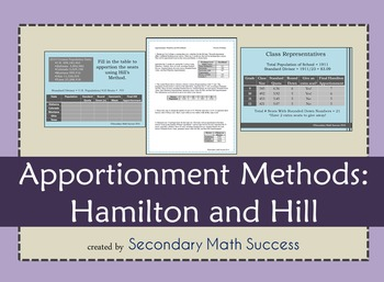 Apportionment Methods: Hamilton and Hill
