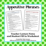 Appositive Phrases- Lecture and Guided Outline