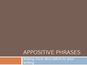 Appositive Phrases Mini Lesson