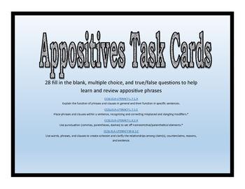 Appositive Task Cards