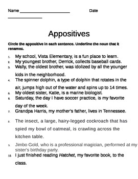 Appositive Worksheet | Homeschooldressage.com