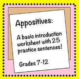 Appositive Worksheet: An Introduction with Practice!