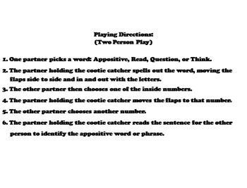 Appositive Phrases Activity/ Grammar Games for 4th, 5th, 6th, 7th Grade