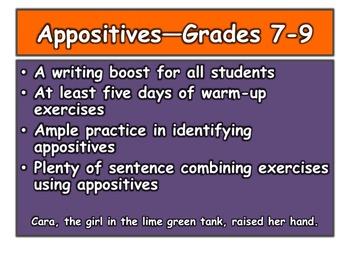 Appositives—Grades 7-9