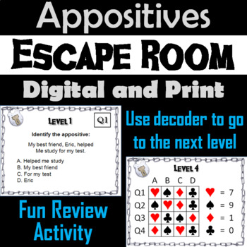 Appositives: Grammar Escape Room - ELA