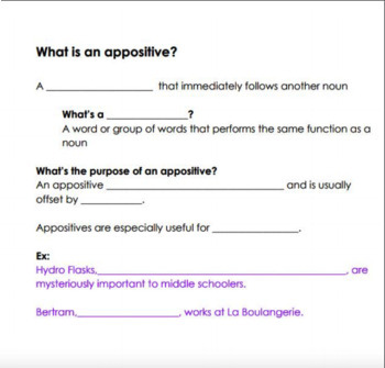Appositives - Guided Notes and Worksheet