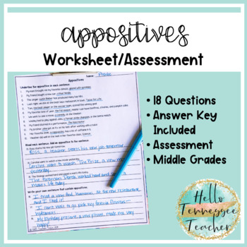 Appositives and Appositive Phrases Worksheet