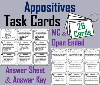 Appositives Task Cards 4th 5th 6th 7th Grade Grammar Practice