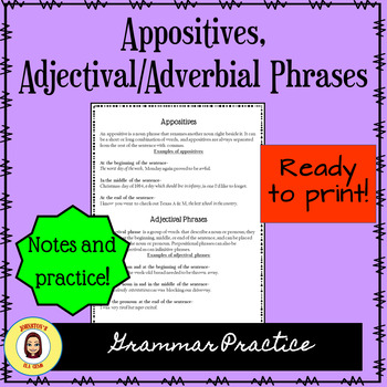 Appositives and Adverbial/Adjectival Phrases Notes and Practice- Secondary ELA