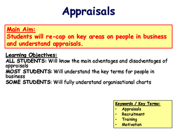 Appraisals & People in Business Revision Lesson - PPT, Worksheets & Quiz