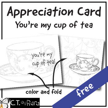 Appreciation Card for Volunteer Tea, Teachers, Staff, Parents