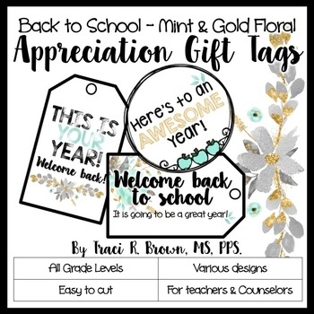 Appreciation Gift Tags - Back to School (Mint and Gold Floral)