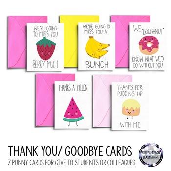 Printable Thank you and Goodbye Cards