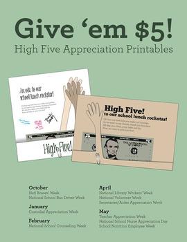 Appreciation printable, give 'em high five! Bosses, nurses, teachers, more!