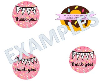 Appreciation, thank you labels for donut jar