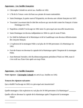 Antilles françaises Apprenons Speaking activity
