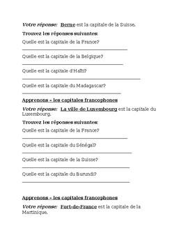 Capitales francophones Apprenons Speaking activity