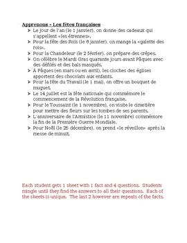 Fêtes françaises (French holidays) Apprenons Speaking activity