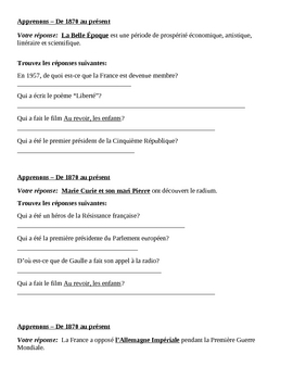 History of France 1870 to present Apprenons Speaking activity