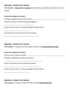 Jacques Yves Cousteau Apprenons Speaking activity