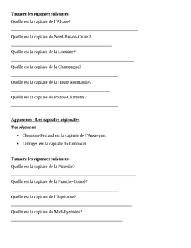 Regional capitals of France Apprenons Speaking activity