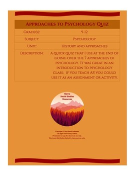 Approaches to Psychology Quiz