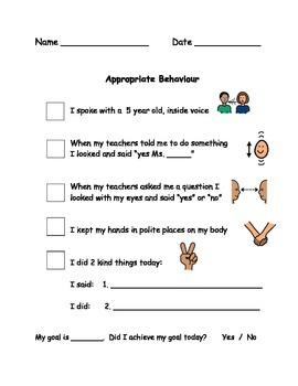 Appropriate Behaviour Checklist