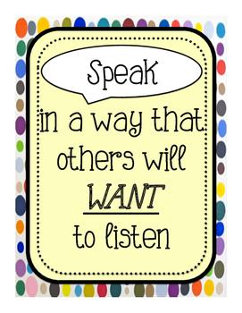 Appropriate Classroom Speech Poster