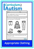 Appropriate Clothing Life Skills Worksheets Autism Special