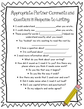 Appropriate Peer Editing Conference Comments and Questions (FREE!)