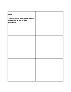 Appropriate Relationship sort for students with autism- social skills