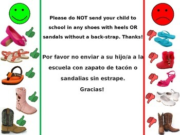 Appropriate Shoes to Wear - Spanish & English
