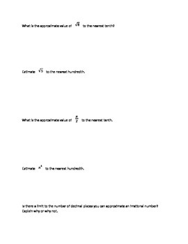 Approximate Irrational Numbers