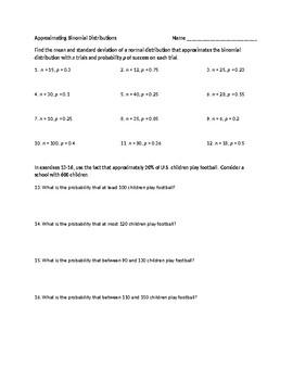 Approximating Binomial Distributions Worksheet