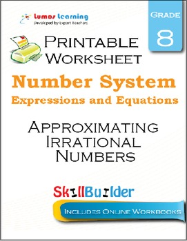 Approximating Irrational Numbers Printable Worksheet, Grade 8