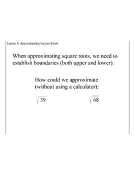 Lesson 4, Approximating Square Roots