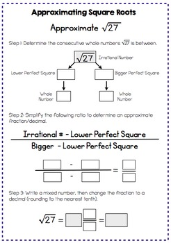 Square Roots - Interactive Notes and Worksheet (8.NS.2)