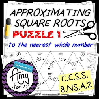 Approximating Square Roots to the Nearest Whole Number - Matching Puzzle One