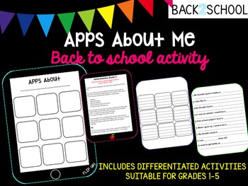 Apps About Me Back to School iPad Activity