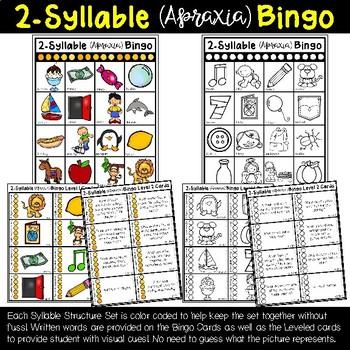 Apraxia Bingo: CCCVC, CCVCC, and Multisyllabic (2, 3, 4, and 5-syllable) Words