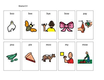 Apraxia CV word pictures