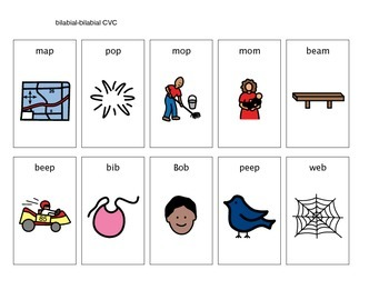 Apraxia CVC word pictures