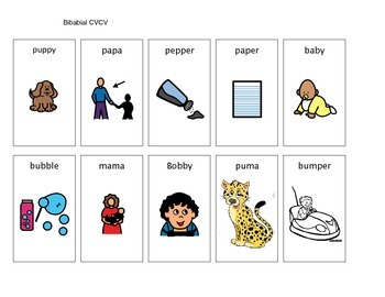 Apraxia Cvcv Word Pictures By Lucky Duck Speech Therapy Tpt