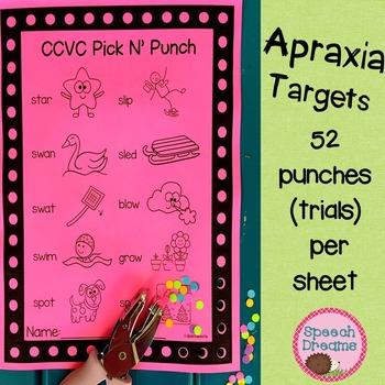 Apraxia Pick N' Punch Speech Targets {low prep black & whi